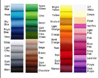 Felt Chemical Free by the YARD or METRE.  Choose your own colours