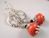 Coral Drops Handmade Lampwork Beaded Earrings SRA