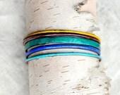 Handcrafted Bangle Set - 'Codswallop' - 5 Piece Set - Jewel Toned Enamel Bracelets