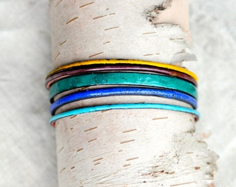Handcrafted Bangle Set - 'Codswallop' - 5 Piece Set - Jewel Toned Enamel Bracelets