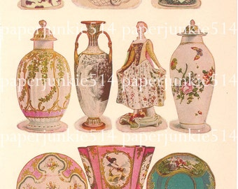 Vintage Book Plate - Chinaware / Beautiful Examples of English and French Porcelain