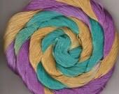 Size 10 Cotton Crochet Thread Hand Dyed 50 yards  aquamarine gold lavender Chanter