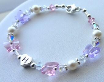 Sterling Silver Heart initial, Butterflies Children Bracelet, Birthday Present, Flower Girl Bracelet, Monogram Bracelet