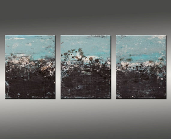 Large Abstract Art Painting Triptych Painting, Modern Acrylic Canvas Wall Art, Hilary Winfield, Texture, Industrial, Abstract Painting