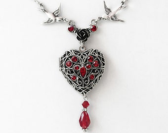 Lockets for women Photo locket silver heart necklace Red Heart Locket Necklace Swarovski Crystal Vintage style Victorian Gothic Jewelry