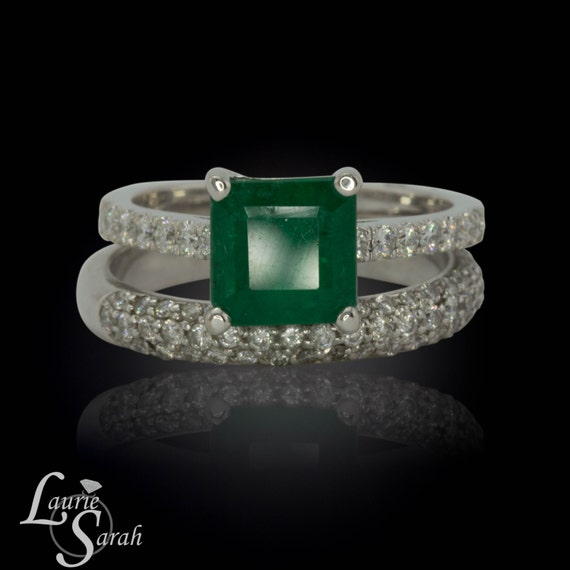 Emerald Engagement Ring, Emerald Solitaire Wedding Set with Micropave Diamond Wedding Band - LS2437