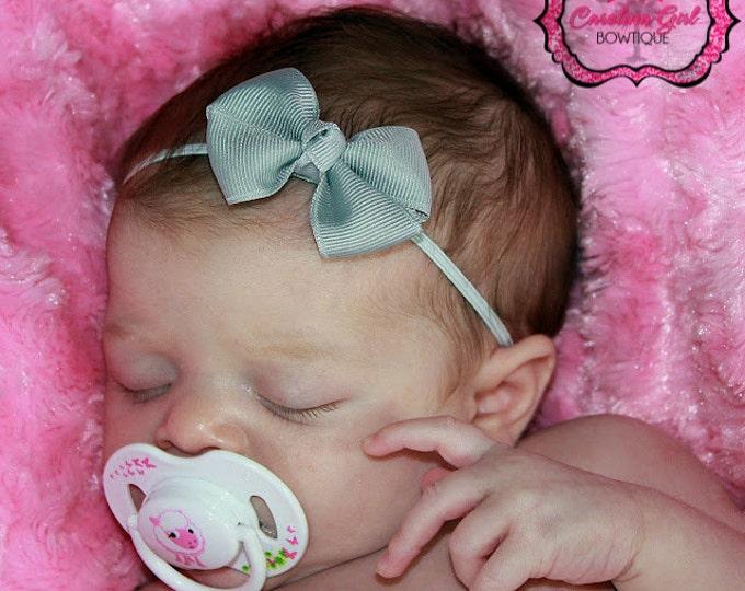 Silver Newborn Headband - 2 in. Bitty Bow on an Elastic Headband - Girls Hair Bows - Baby Headband