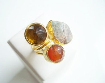 Triple Gold plated  Orange Agate and  Druzy ring