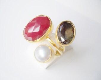 Triple Gold plated Jade and Smokey quartz ring