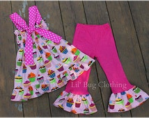Girls Cupcake Outfit, Girls Pink Cupcake Birthday Girl Outfit, Custom Boutique Girl Outfit, Girls Smocked Top & Pant Outfit