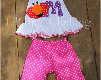 Custom Boutique Clothing Personalized Sesame Street Elmo Red White Dot  Purple Pink Capri and Halter Top