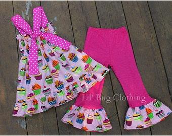 Girls Cupcake Outfit, Girls Pink Cupcake Birthday Girl Outfit, Custom Boutique Girl Outfit, Girls Smocked Top & Pant Outfit
