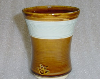 Wheel Thrown Pottery Tumbler Amber with a Light Green Chattered Stripe