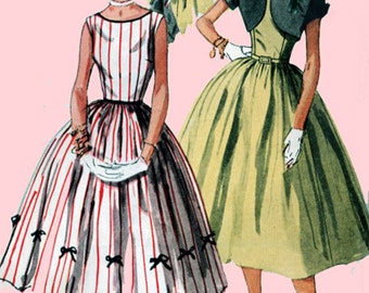 Vintage 1950s Sleeveless Party Dress w/ Scooped Back and Short Bolero Sewing Pattern Simplciity 4250 50s ROCKABILLY Pattern Size 15  Bust 33