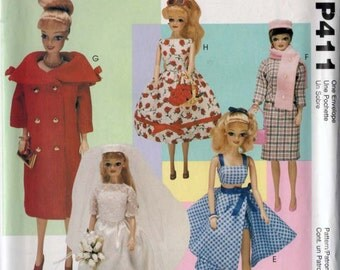 """Doll Clothes Vintage Collection for 11.5"""" Dolls OOP McCalls P411/9664 Vintage 90s Sewing Pattern UNCUT"""