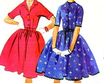 1960s Shirtwaist 4-Gore gathered Full Skirt Dress McCalls 5953 Vintage 60s Mod Sewing Pattern Size 14 Bust 34 UNCUT