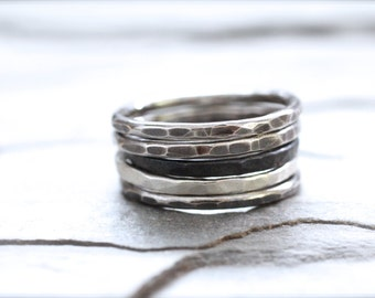 Sterling Silver Stacking Ring. Hammered Heavy Gauge Ring. Pinky or Thumb Ring. Knuckle Ring