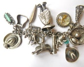 Charm Bracelet Vintage Western Indian Mexican Sterling Silver 27 Charms
