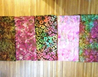 Batik Fabric Bundle FIVE One yard Pieces Moda