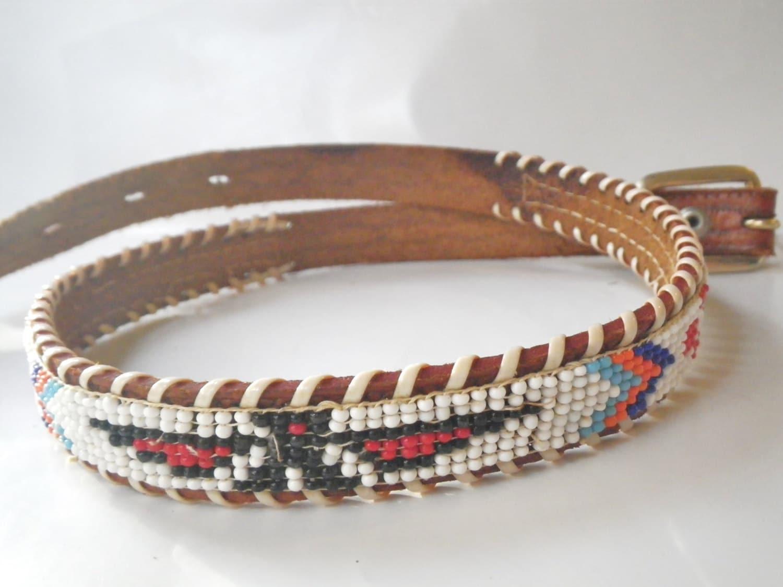 beaded belt vintage american souvenir leather belt
