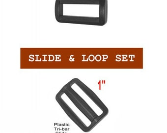 """10 SETS - 1"""" - Regular Mouth Slide and Loop SET, Tri Bar, 25.4mm - Your Choice of slot heights"""