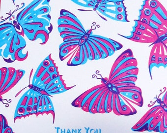 Pink, Blue and Purple Butterflies Thank You Card