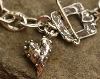 Signature Prickly Heart Sterling Silver Bracelet with Heart Toggle BR302