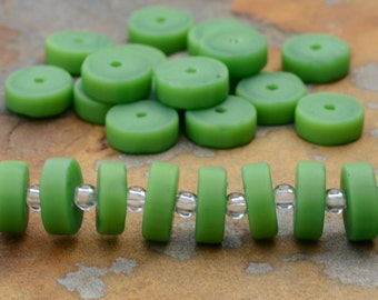 Opaque Spring Green 9mm Heishe, Disks, Washers, Cultured Sea Glass, PICK Your Own Bulk Price