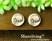 Buy 1 Get 1 Free - Skull Wood Cabochon, Wooden Button,12mm 15mm 20mm  Round Handmade Photo Wood Cut Cabochon -- HWC002E