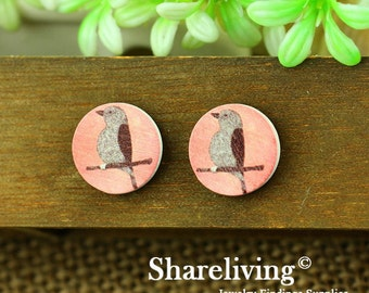 Buy 1 Get 1 Free - Vintage Bird Wood Cabochon, Wooden Button,12mm 15mm 20mm  Round Handmade Photo Wood Cut Cabochon -- HWC005E