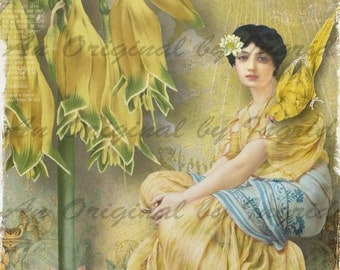 Pretty Maiden and the Yellow Parrott Digital Collage Greeting Card (Suitable for Framing)