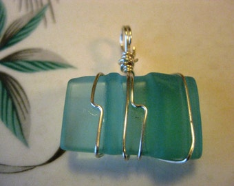 Mason Jar Lip glass pendant, beach glass inspired vintage aqua glass pendant wired wrapped and whimsical