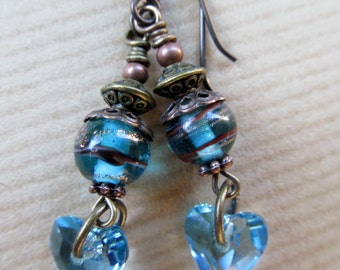 SALE Blue Hearts - Aquamarine Swarovski Heart Crytals Niobium Earrings