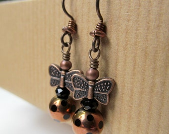 SALE Butterfly and Black Polka Dot Copper Glass Bead Niobium Earrings