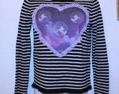 cosmic UNICORN heart striped sweater