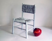 Vintage Doll Chair Wood Toy Miniature Furniture Cottage Chic Decor Chippy White Paint Rustic Plant Stand Wicker Seating Photo Prop