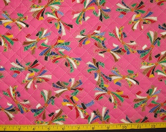 Traditional Noshi Design Japanese Asian Pre Quilted Fabric Half Meter Cut Pink