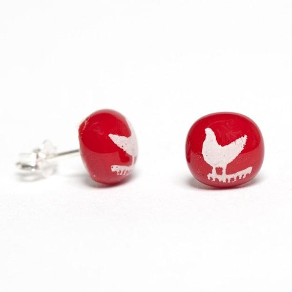 Bird Earrings Glass Studs Custom Printed Enamel Sterling Silver 925