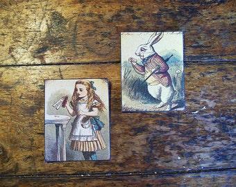 Alice in Wonderland patch set retro vintage victorian fairy tale fantasy white rabbit sew on patch