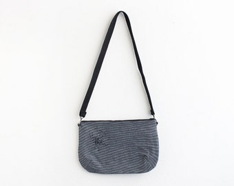 Striped denim shoulder Bag