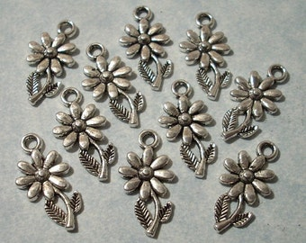 10 Small Daisy Charms 9.5mm x 19mm Silver Flower Charms