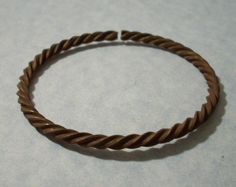 Vintage Twisted Brass Cuff Bracelet 8 inch Adjustable Bangle Bracelet
