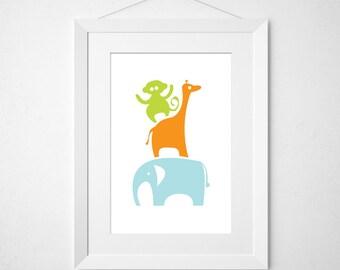 it's a zoo  - nursery art print
