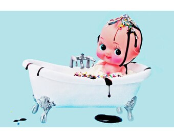 bathroom decor kewpie doll 8 x 12 MY SUNDAE BATH