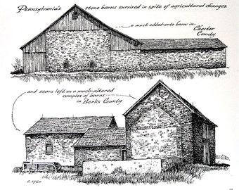 Pennsylvania's Stone Barns, Appalachian Loft Barn - 1967 Vintage Print - Black and White - 9 x 11