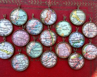Custom Map Necklace - Travel Brass Vintage Map Charm - You Pick City - Personalized Map Jewelry