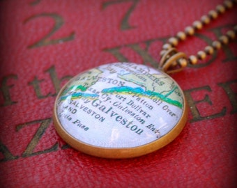 Galveston Map Necklace