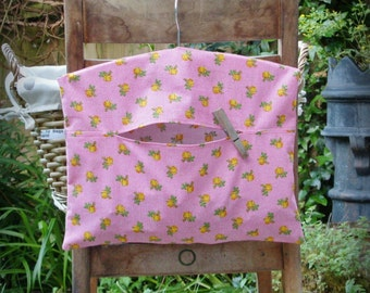 Yellow Roses on Red Check Clothespin Bag / Peg Bag - On Sale