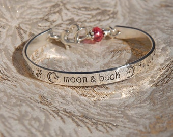 Custom hand stamped bangle bracelet cuff,  perfect for your wee loved ones...love you to the moon and back
