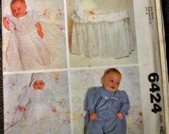 Sewing Pattern McCall's 6424 Infants' Christening Dress Crib Cover Size Newborn 7 1/2 pounds Uncut  Complete